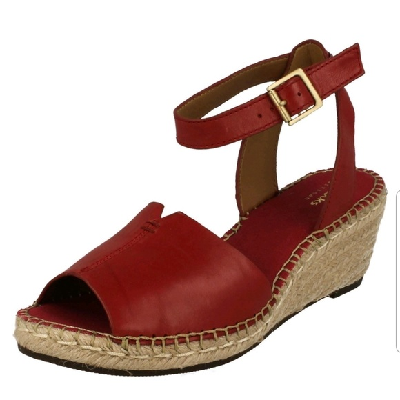 df5d1bf1893 Clarks Shoes - Clarks Red Petrina Selma Wedge
